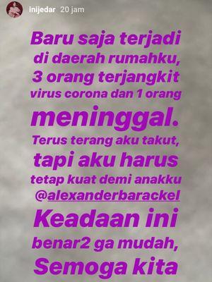 Instagram story yang ditulis oleh artis peran Jessica Iskandar.