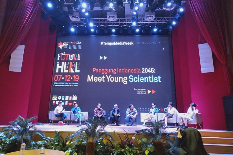 Acara bertajuk Indonesia 2045: Meet Young Scienctists di Perpustakaan Nasional, Sabtu (7/12/2019).