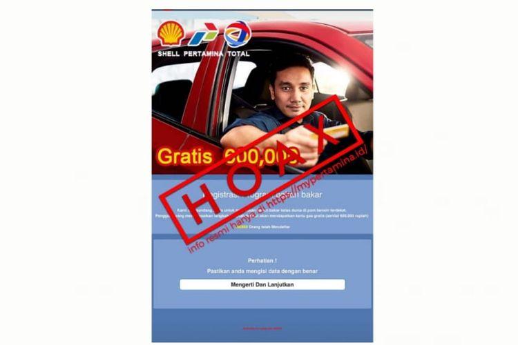 Tangkapan layar hoaks pembagian kartu gas gratis Rp 600.000.