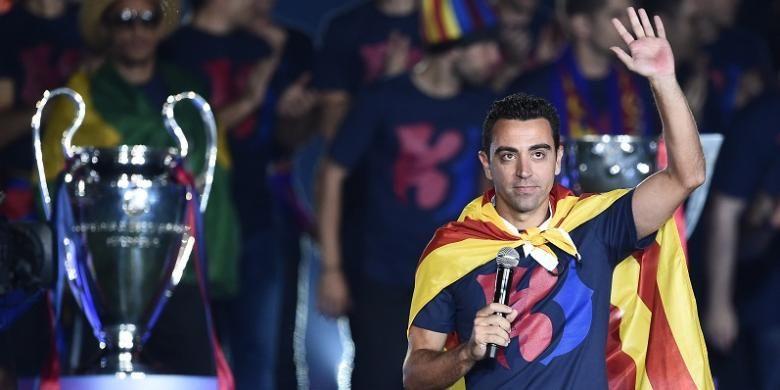 Xavi Hernandez kala merayakan keberhasilan Barcelona meraih gelar Liga Champions di Stadion Camp Nou, pada 7 Juni 2015.