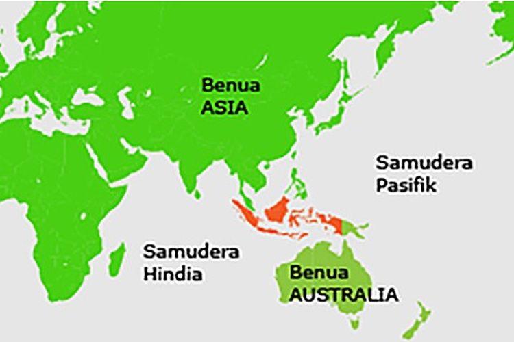 Ilustrasi letak geografis Indonesia.