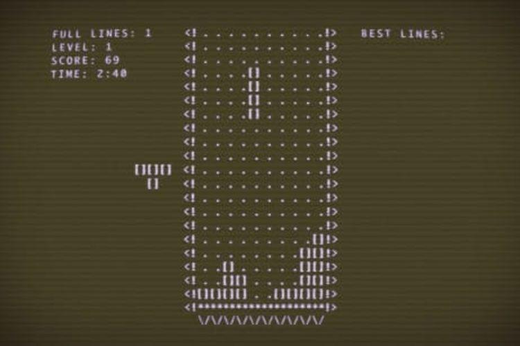Ilustrasi game Tetris versi orisinal.