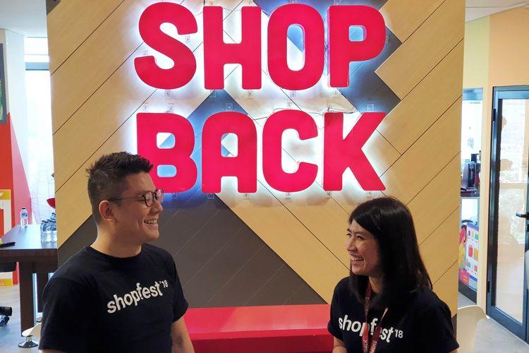 Co-founder Shopback, Joel Leong dan Head of Business Development ShopBack, Yolanda Margaretha, dalam acara temu media di Jakarta, Rabu (21/8/2019).