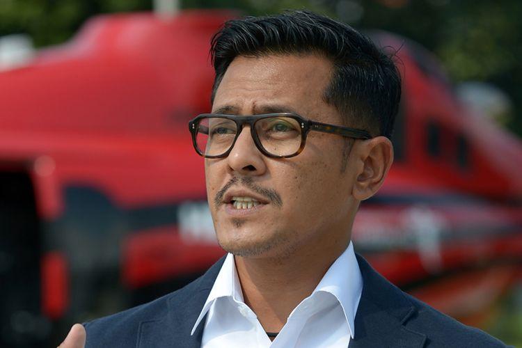 Ketua INACA sekaligus CEO PT Whitesky Aviation  Denon Prawiraatmadja saat berbicara di Jakarta, Kamis (29/3/2018).