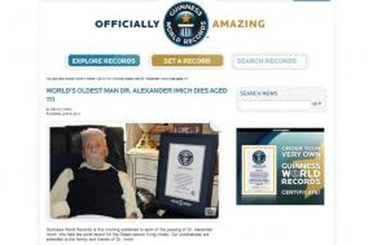 Laman Guinness World of Records, Senin (9/6/2014), memuat kabar meninggalnya orang tertua di dunia, Alexander Imich (111) pada Minggu (8/6/2014).