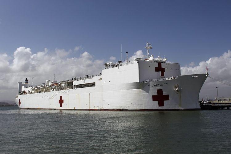 Kapal rumah sakit milik Angkatan Laut Amerika Serikat USNS Comfort yang akan dikirim dalam misi kemanusiaan membantu para pengungsi Venezuela.