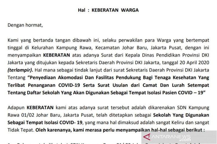 Tangkapan layar potongan salinan surat keberatan Warga Kampung Rawa yang dikirimkan kepada Gubernur DKI Jakarta Anies Baswedan mengenai penggunaan sekolah sebagai lokasi penanganan COVID-19.
