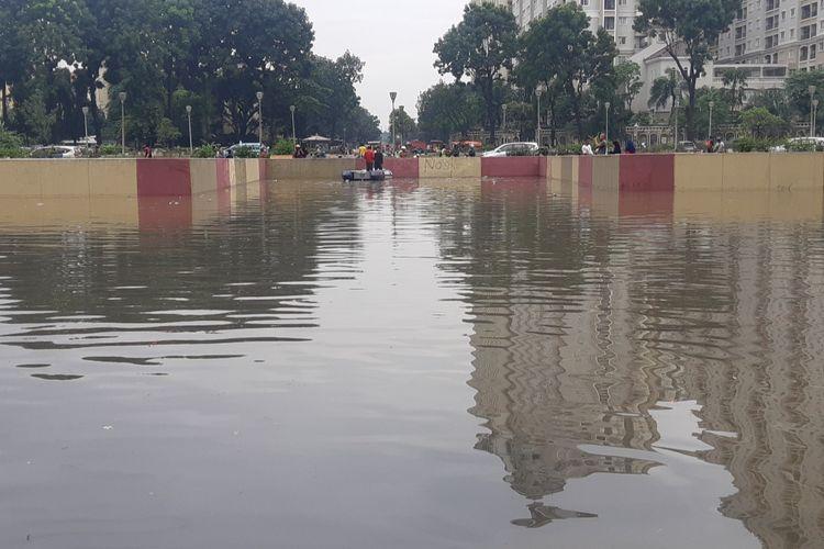 Terowongan Ghandi yang terendam di kawasan Kemayoran, Jakarta Pusat, Sabtu (8/2/2020)