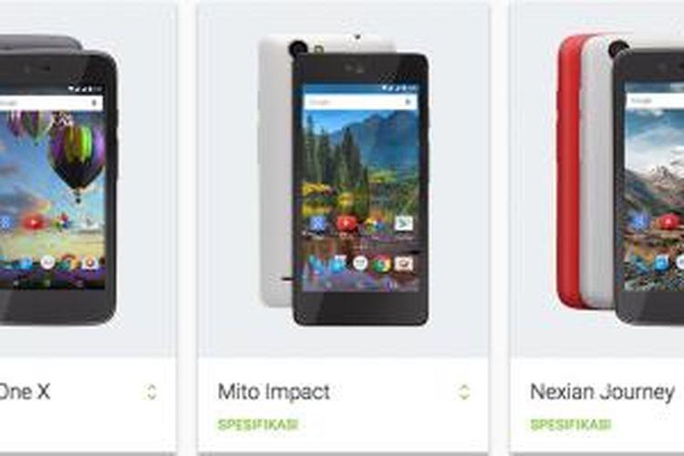 Tiga model ponsel Android One Indonesia dari Evercoss, Mito, dan Nexian