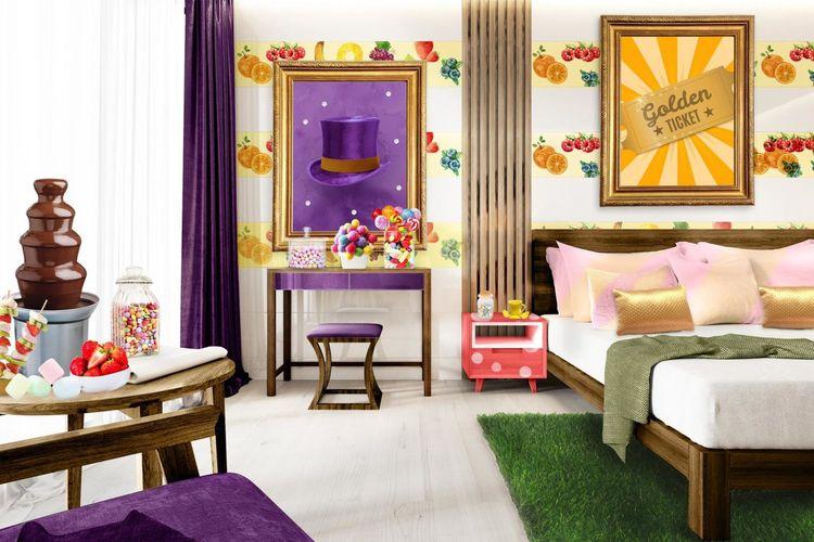 Kamar hotel tema Willy Wonka di Inggris.