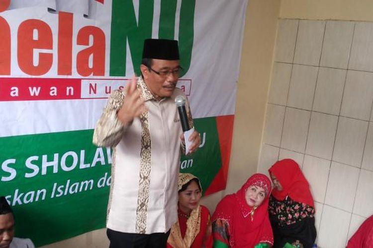Wakil Gubernur DKI Jakarta Djarot Saiful Hidayat saat menghadiri sebuah acara pengajian yang diadakan Relawan Nusantara (Rela NU) di Jalan Warung Silah, Cipedak, Jagakarsa, Jakarta Selatan, Sabtu (4/3/2017).