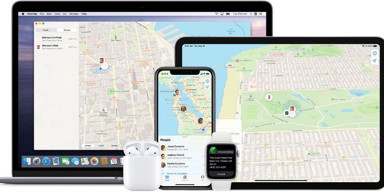Fitur pelacakan bawaan perangkat Apple, Find My App.