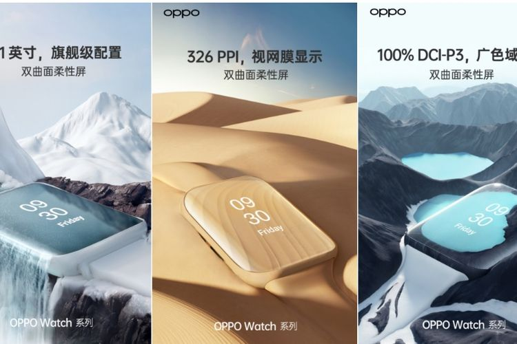 Oppo memamerkan gambar Oppo Watch dengan bentuk mirip Apple Watch