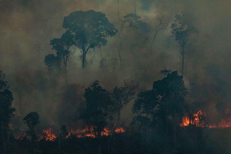 Foto udara menunjukkan kobaran api yang melalap hutan di Kota Candeias do Jamari, Amazon, Brasil, Sabtu (24/8/2019). Kebakaran hutan Amazon menjadi sorotan dunia setelah api yang menjalar di paru-paru dunia itu mencapai 18.627 kilometer persegi tahun ini, dengan 76.720 kebakaran terjadi dari Januari-Agustus.