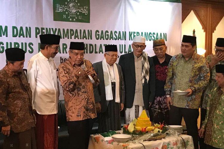 Ketua Umum PBNU Said Aqil Siroj pada acara Silaturrahim dan Penyampaian Gagasan Kebangsaan Pengurus Besar NU di Gedung PBNU, Jakarta Pusat, Senin (22/4/2019).