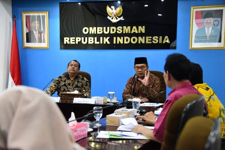 Gubernur Jawa Barat Ridwan Kamil saat menghadiri pertemuan bersama Ombudsman RI di Jakarta, Jumat (20/9/2019).