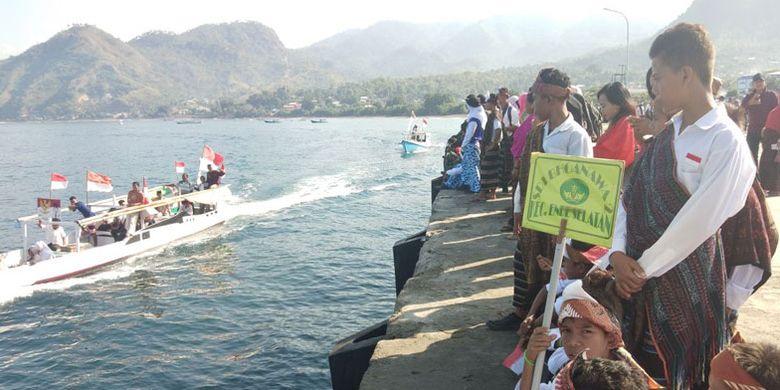 Parade laut digelar di Ende, Nusa Tenggara Timur, Kamis (31/5/2018), dalam rangka memperingati hari lahir Pancasila pada 1 Juni 2018.