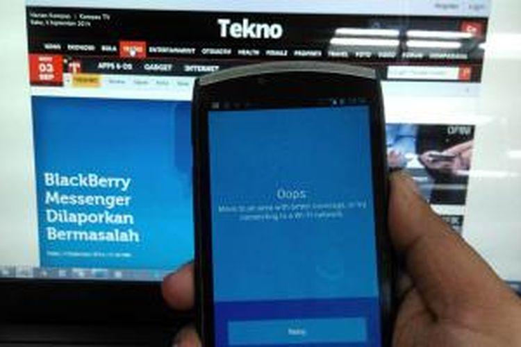Layanan BBM dilaporkan bermasalah oleh sebagian pengguna Android, Selasa (3/9/2014).