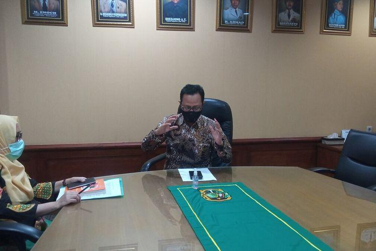 Heroe Porwadi saat ditemui di ruanganya Kompleks Balaikota, Kota Yogyakarta ungkap tambahan kasus positif di Wirobrajan, Selasa (12/5/2021)