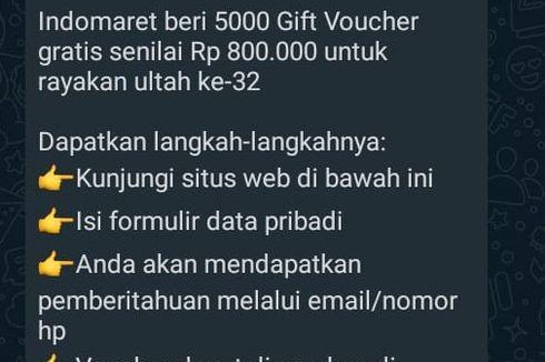 [HOAKS] Indomaret Bagi-bagi Voucher Gratis Senilai Rp 800.000