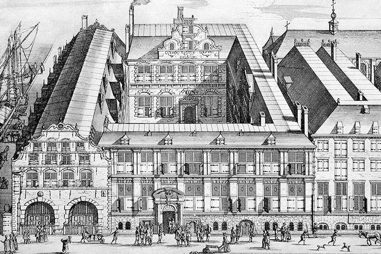 Kantor pusat VOC di Amsterdam. Dibangun pada 1606 dan dihancurkan pada 1891. Sekarang menjadi lokasi Bushuis.