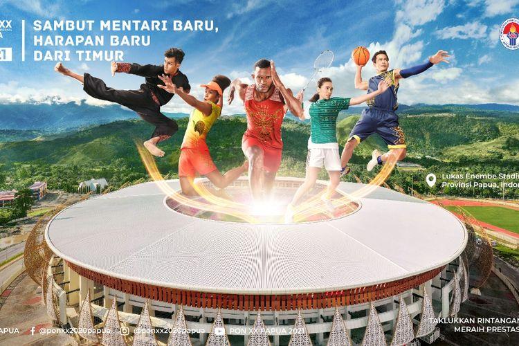 Poster PON XX Papua 2021 dengan latar belakang Stadion Lukas Enembe.
