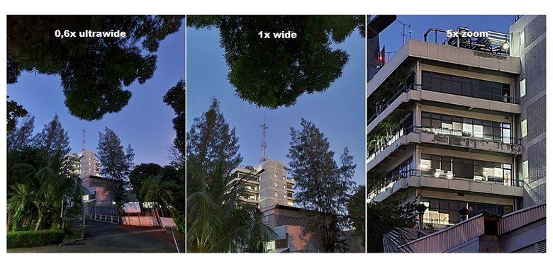 Hasil foto kamera belakang menggunakan mode malam dan kamera ultrawide, wide, serta zoom.