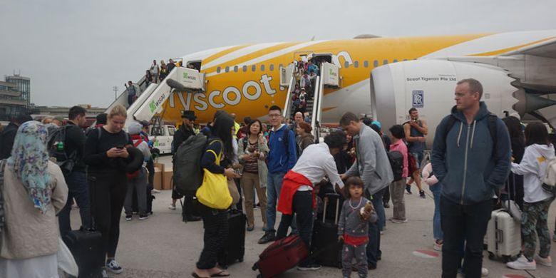 Maskapai Scoot tiba di Bandara Tegel Berlin, Jerman, Rabu (20/6/2018) pagi setelah melakukan penerbangan perdana selama 12 jam dari Singapura.