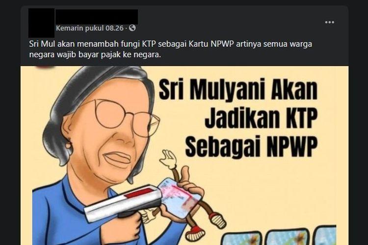 Tangkapan layar hoaks semua warga negara wajib bayar pajak ke negara karena kini fungsi KTP bertambah menjadi NPWP.