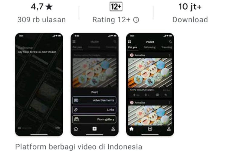 Aplikasi VTube di playstore