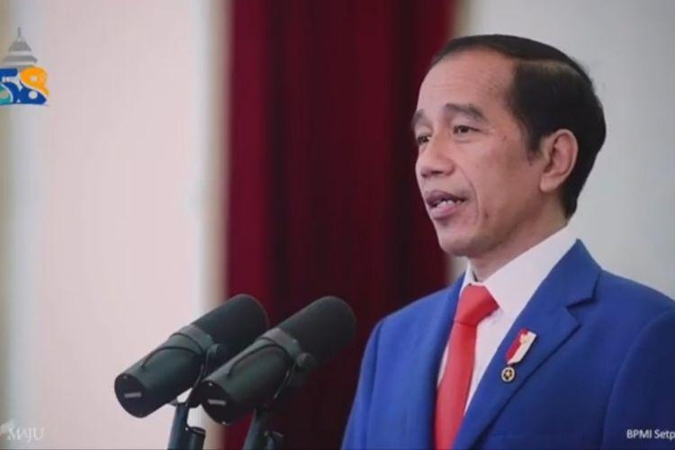 Tangkapan layar Presiden Joko Widodo saat hadir secara virtual dalam Dies Natalis ke-58 Universitas Brawijaya (UB), Selasa, 5/1/2020).