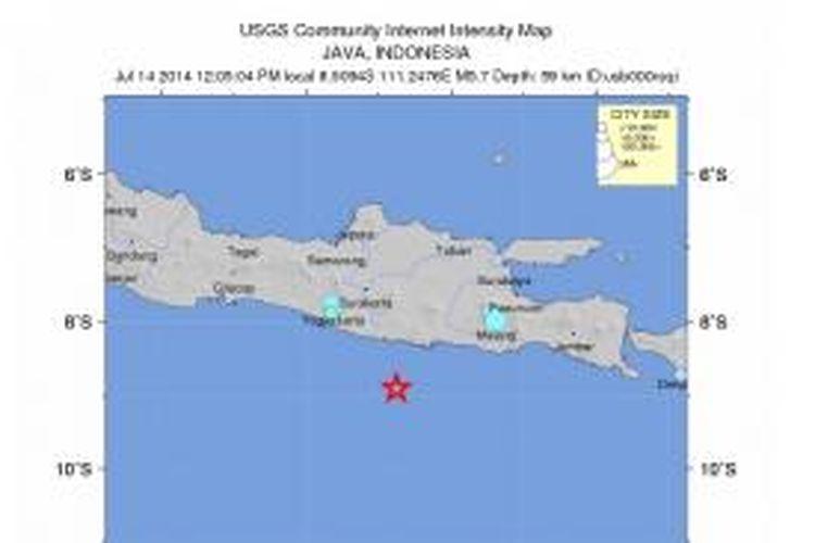 Pusat gempa yang mengguncang Pacitan pada Senin (14/7/2014) siang.