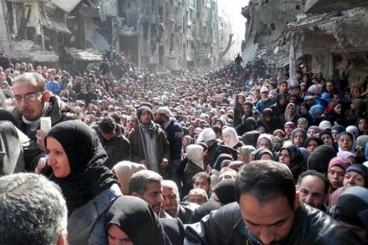 Pengungsi Palestina di Yarmuk, Suriah selatan