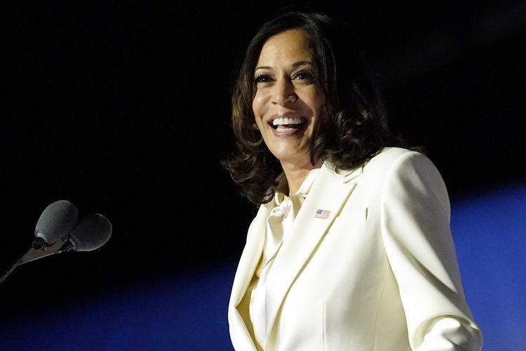 Wakil Presiden terpilih Amerika Serikat Kamala Harris berbicara di Wimington, Delaware, pada 7 November 2020.