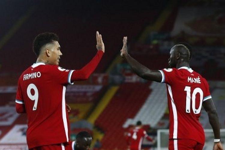 Roberto Firmino dan Sadio Mane dalam laga Liverpool vs Arsenal pada pekan ketiga Liga Inggris 2020-2021.