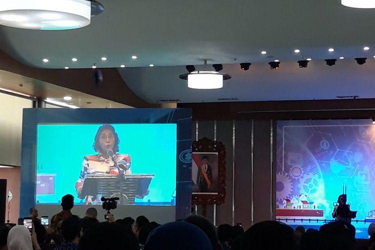Menteri Kelautan dan Perikanan Susi Pudjiastuti di Forum Bisnis Perikanan Tangkap, Jakarta, Kamis (31/1/2019).