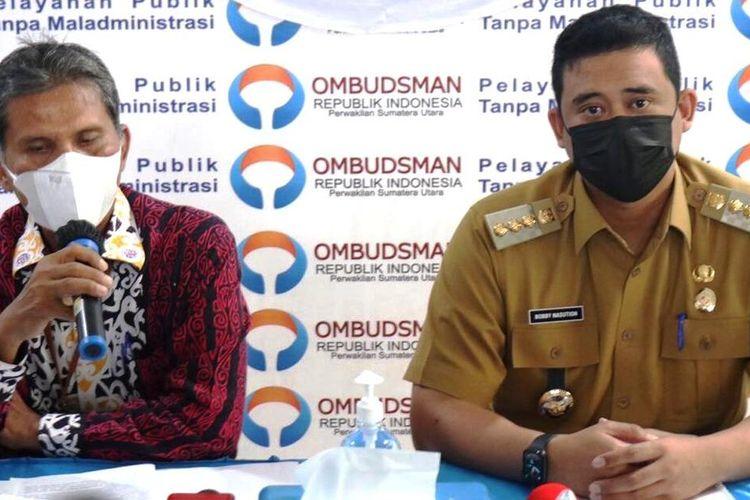 Wali Kota Medan Bobby Nasution meminta maaf atas keterlambatan pembayaran insentif nakes di RSUD Dr Pirngadi dan Puskesmas di Kota Medan di kantor Ombudsman Perwakilan Sumut, Senin (15/3/2021)
