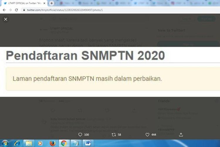 Tangkapan layar akun twitter LTMPT yang memberitahukan bahwa server dalam perbaikan, Jumat (14/2/2020) malam.