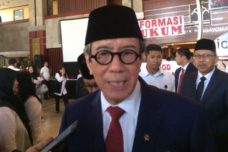 Menkumham Yasonna Laoly di kantor Kemenkumham, Kuningan, Jakarta, Rabu (14/3/2018)