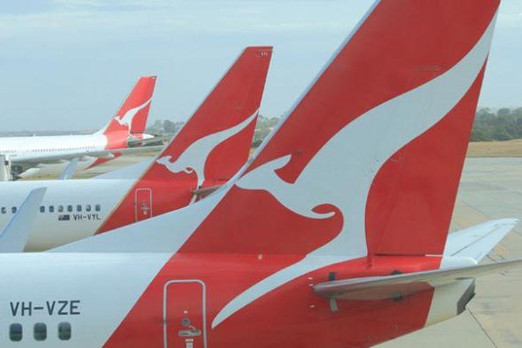 Ilustrasi maskapai Australia, Qantas.