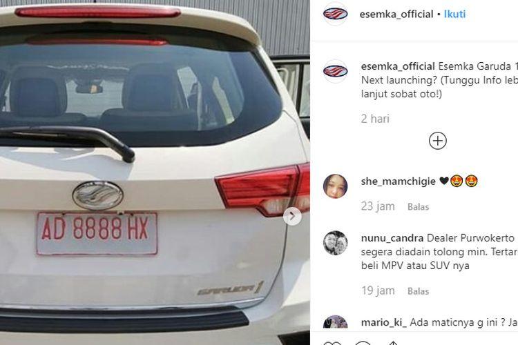 SUV Esemka Garuda 1 mulai menggodar dari sosial media