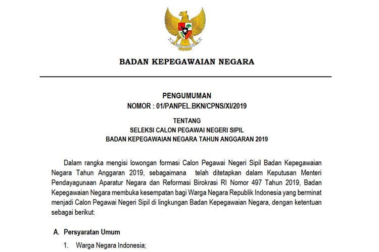 BKN resmi mengumumkan pembukaan seleksi calon pegawai negeri sipil (CPNS).