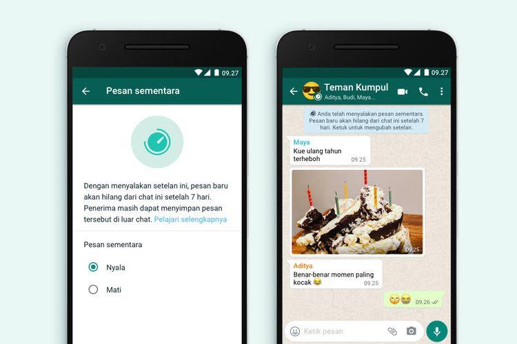 Fitur Pesan Sementara di aplikasi WhatsApp