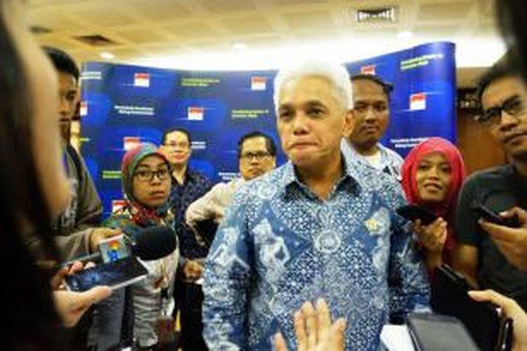 Menko Bidang Perekonomian, Hatta Rajasa, di Jakarta, Jumat (11/4/2014).