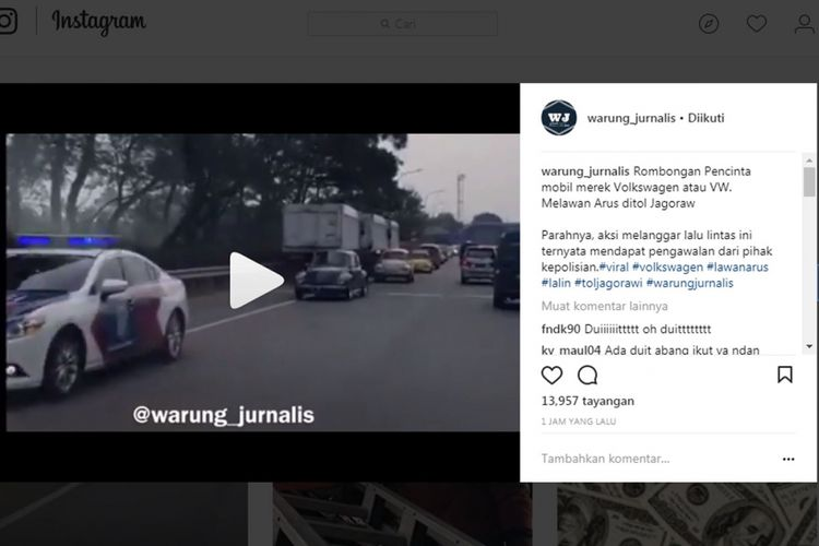 Viral rombongan mobil klasik lawan arus di tol Jagorawi.