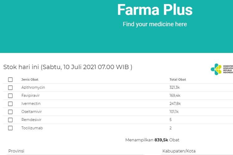 Aplikasi Farma Plus untuk mengecek ketersediaan obat Covid-19.