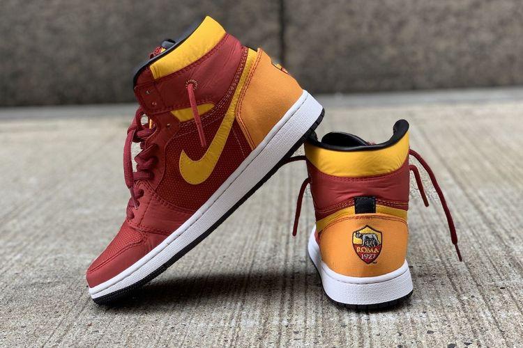 Sneaker Custom Air Jordan 1 mid x AS Roma