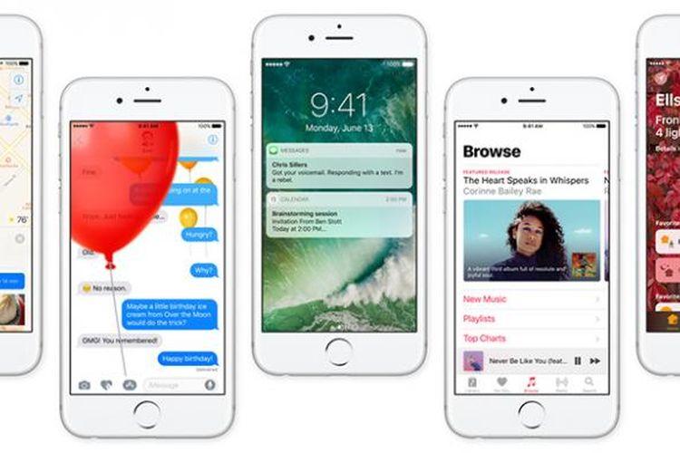 Ilustrasi sistem operasi mobile iOS 10