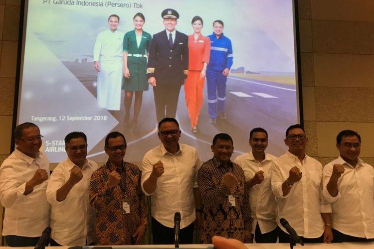 Direksi PT Garuda Indonesia (Persero) Tbk usai Rapat Umum Pemegang Saham Luar Biasa, Rabu (12/9/2018).