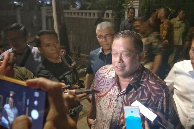 Anggota Dewan Pembina Partai Gerindra Djoko Santoso di kediaman Prabowo Subianto, Selasa (14/8/2018).